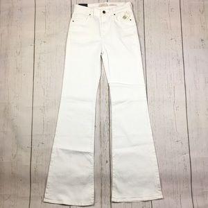Jen7 White Stretch Flare Leg Trouser Jean